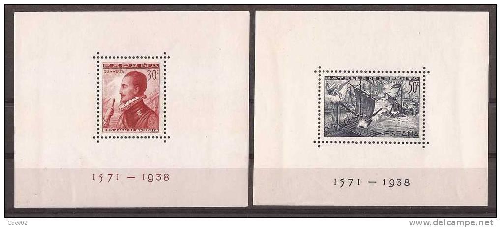 ES862-3614THC.España Spain.Espagne HOJITAS DE LA BATALLA DE LEPANTO 1938(Ed 862/3**)sin  Charnela MAGNIFICAS - Hojas Conmemorativas