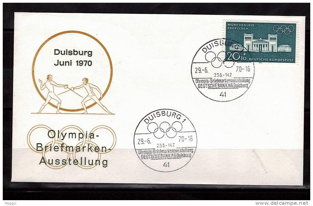 ALLEMAGNE   Enveloppe 1970 Cachet  DUISBURG 1  JO  Escrime - Fencing