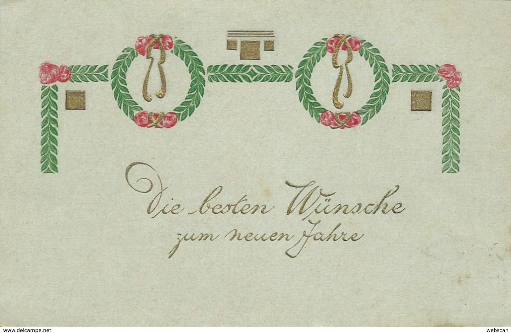 AK Neujahr Zierschleife Präge- & Golddruck Color 1906 #05 - Neujahr