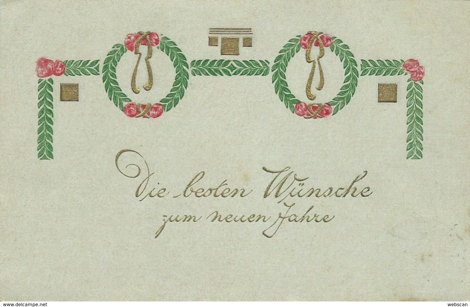 AK Neujahr Zierschleife Präge- & Golddruck Color 1906 #05 - Nieuwjaar