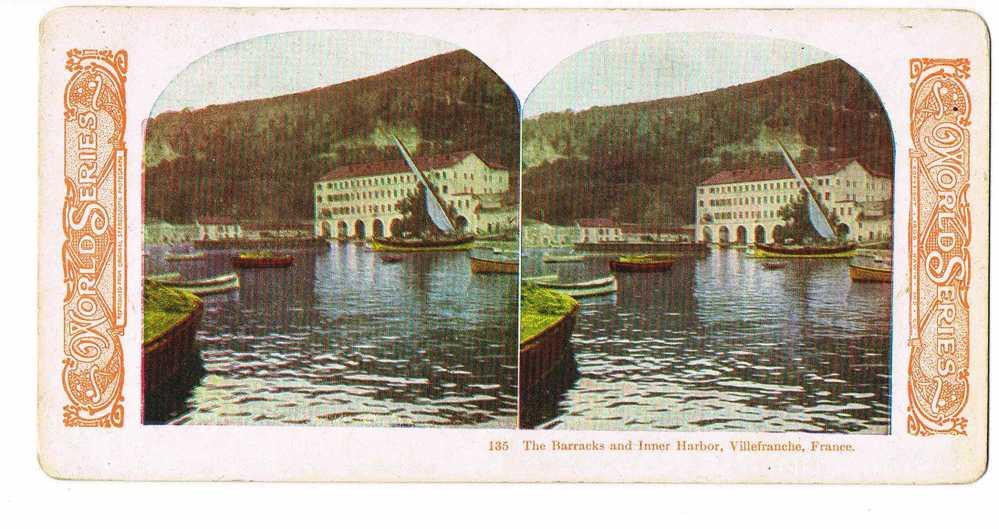 06- VILLEFRANCHE -  Photo Stereo Couleurs -World Séeies - The Barracks And Inner Harbor -17,5 X 9 - Photos Stéréoscopiques