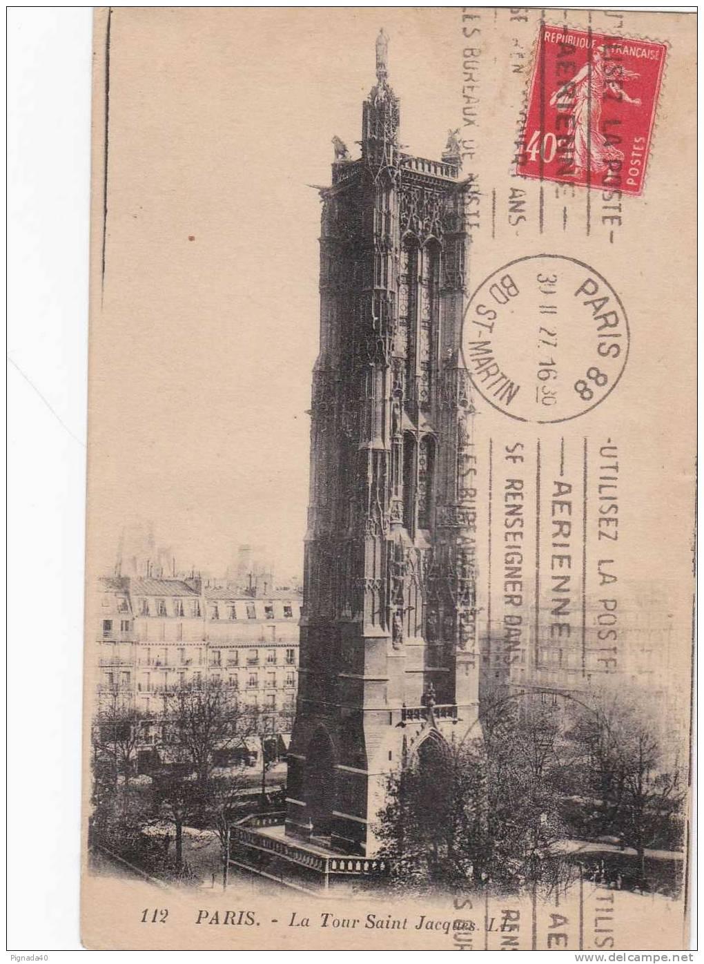 Cp , 75 , PARIS , La Tour Saint-Jacques - France