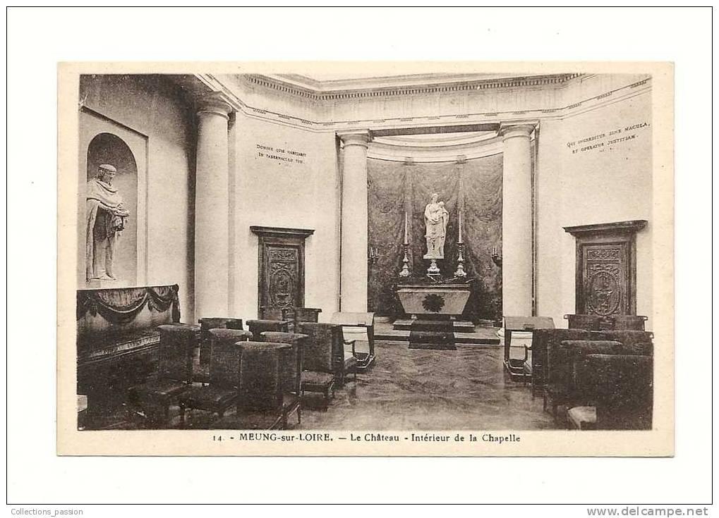 Cp, 45, Meung-sur-Loire, Le Château,  Intérieur De La Chapelle - Francia