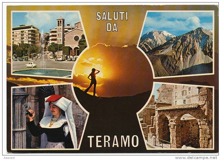 Saluti Da Teramo Format 10 Par 15   2 Stamps 1986 2 Timbres Voyagé - Teramo