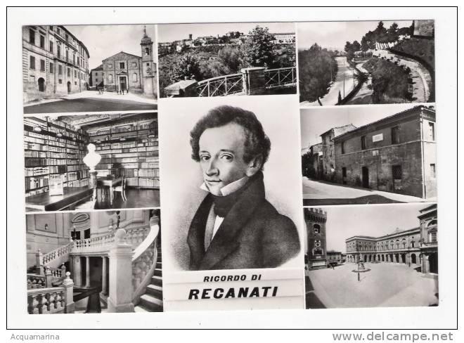 RECANATI - Ricordo Di, Vedute, LEOPARDI, Versi Sul Retro - Cartolina FG BN NV - Italia