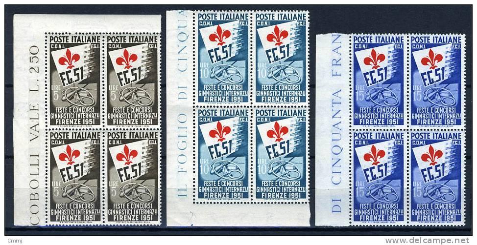 1951 -  Italia - Italy - - Catg. Sass. 661+662c+663c - Mint - Firm. G. Biondi - (B0116122010a) - 1946-60: Nuovi