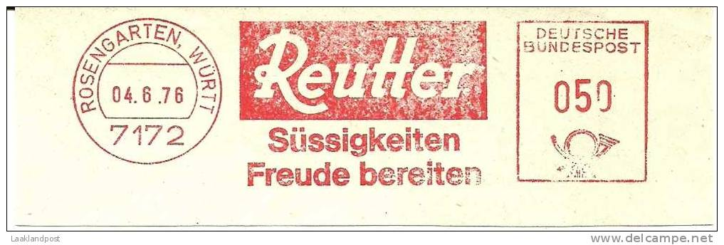 Germany Nice Cut Meter REUTTER Sussigkeiten Freude Bereiten, Rosengarten Wurth 4-6-1976 - Food