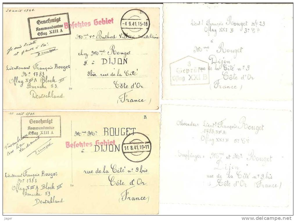 Important Lot France 40 Oflag Tampons - 1939-45