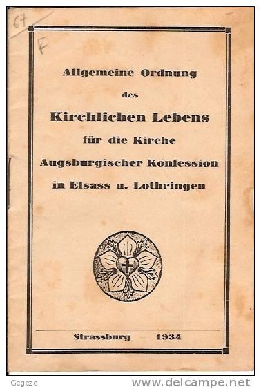 67 STRASBOURG LIVRET Allgemeine Ordnung Des KIRCHLICHEN LEBENS.. 1934  15 Pages - Christianisme