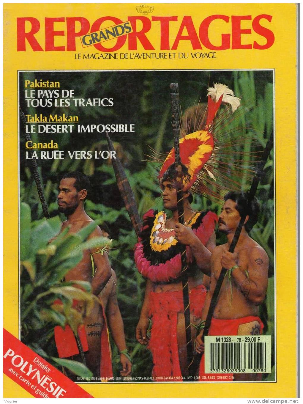 GRANDS REPORTAGES     Numéro 78  Mars 1988    Polynésie, Pakistan, Takla Makan, Canada - Géographie
