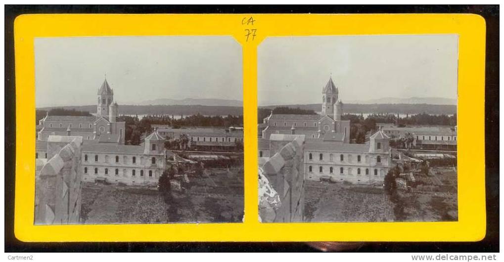 PHOTO STEREO ILE DE LERINS MONASTERE DES PERES CARMES DECHAUSSES 31 MAI 1908 CANNES - Stereo-Photographie