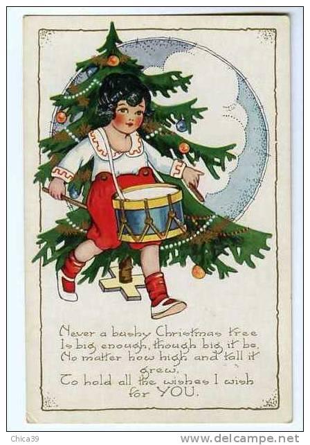015408  CPA    Merry Christmas    Le Sapin Et L'enfant Au Tambour      Carte Relief & Litho - Non Classificati