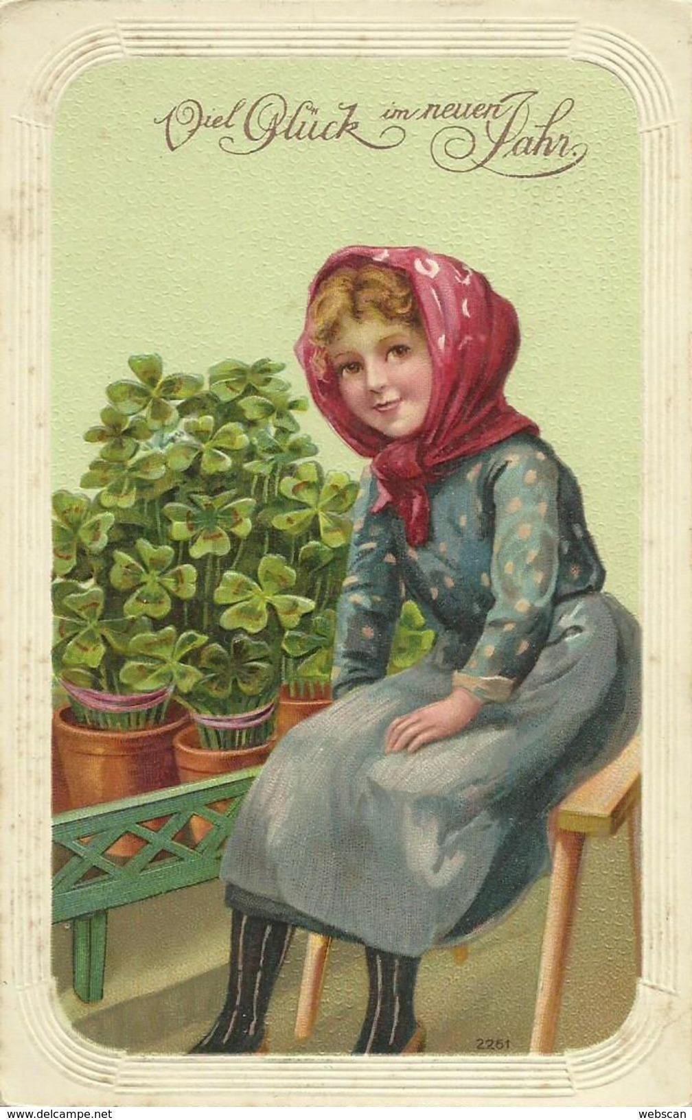 AK Neujahr New Year Mädchen Glücksklee Präge-AK Color 1911 #43 - New Year