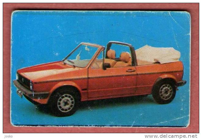 VOLKSWAGEN VW GOLF 1 CABRIO - Germany (Croatia Old Vintage Card ) Car Automobile Auto Cars Automobiles Autos Oldtimer - Other Collections