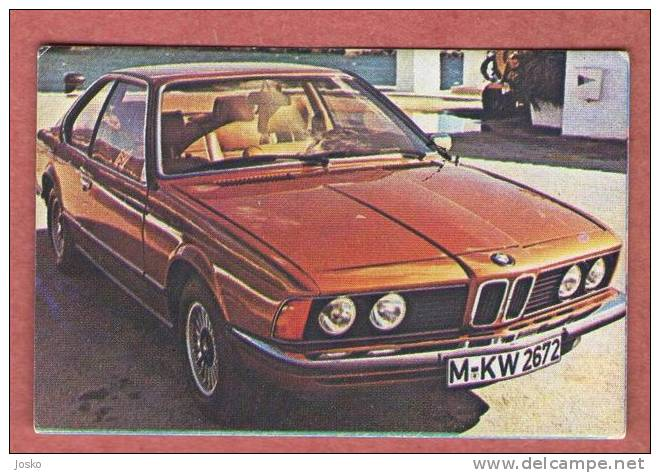 BMW 6 - Germany ( Croatia Old Vintage Card ) Car Automobile Auto Cars Automobiles Autos Oldtimer - Unclassified