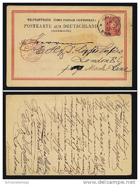 A215) DR Ganzsachenkarte 10 Pfg. Halle 1.5.1879 N. London / Great Britain - Allemagne