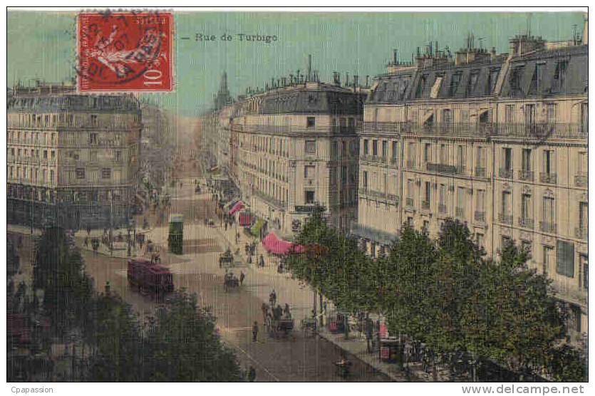 PARIS - 3° Arrondissement -Rue De Turbigo -cpa Tissée Couleurs-écrite 1907- Tram-PAYPAL SANS FRAIS - Paris (03)