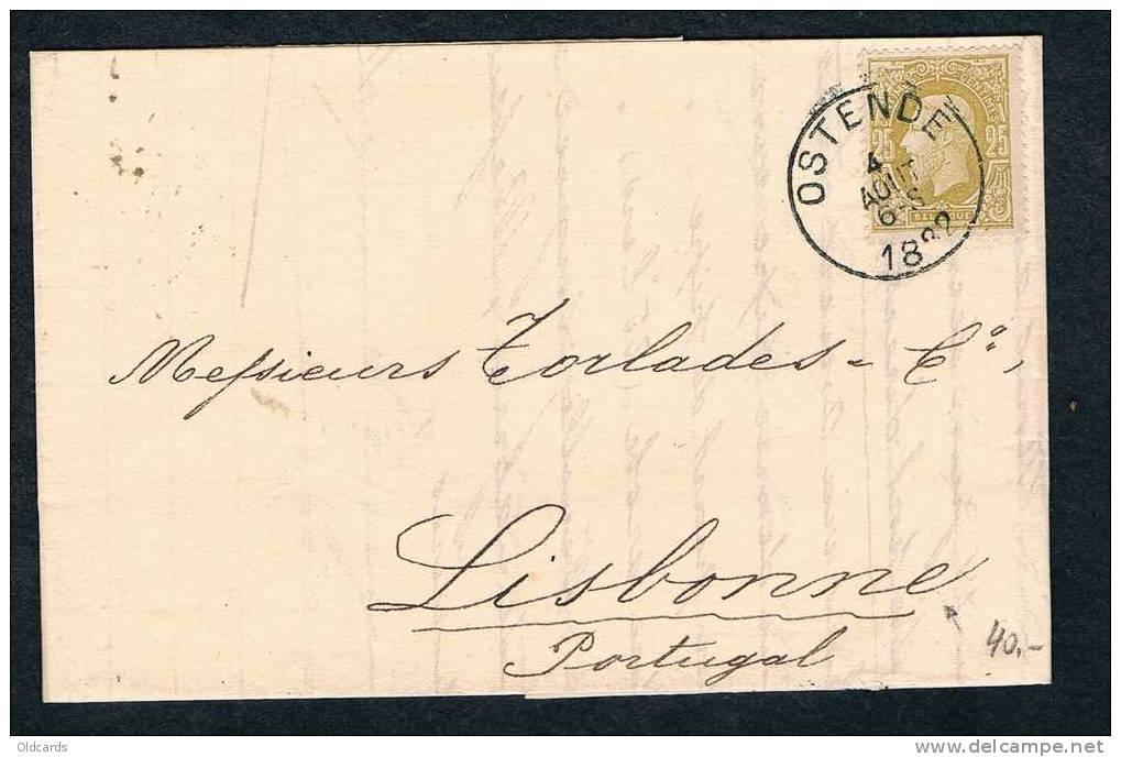 Belgique 1882 Lettre Affr. N°32 D'Ostende Pour Lisbonne. (Bonne Destination) - 1869-1883 Leopold II