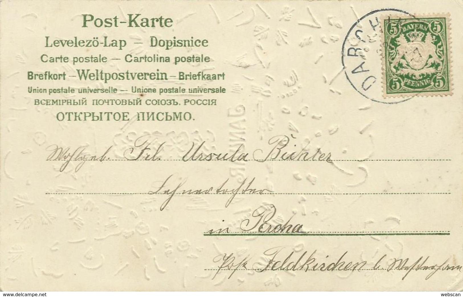 AK Neujahr New Year 1. Januar Kleeblätter Präge-AK ~1900 #37 - New Year