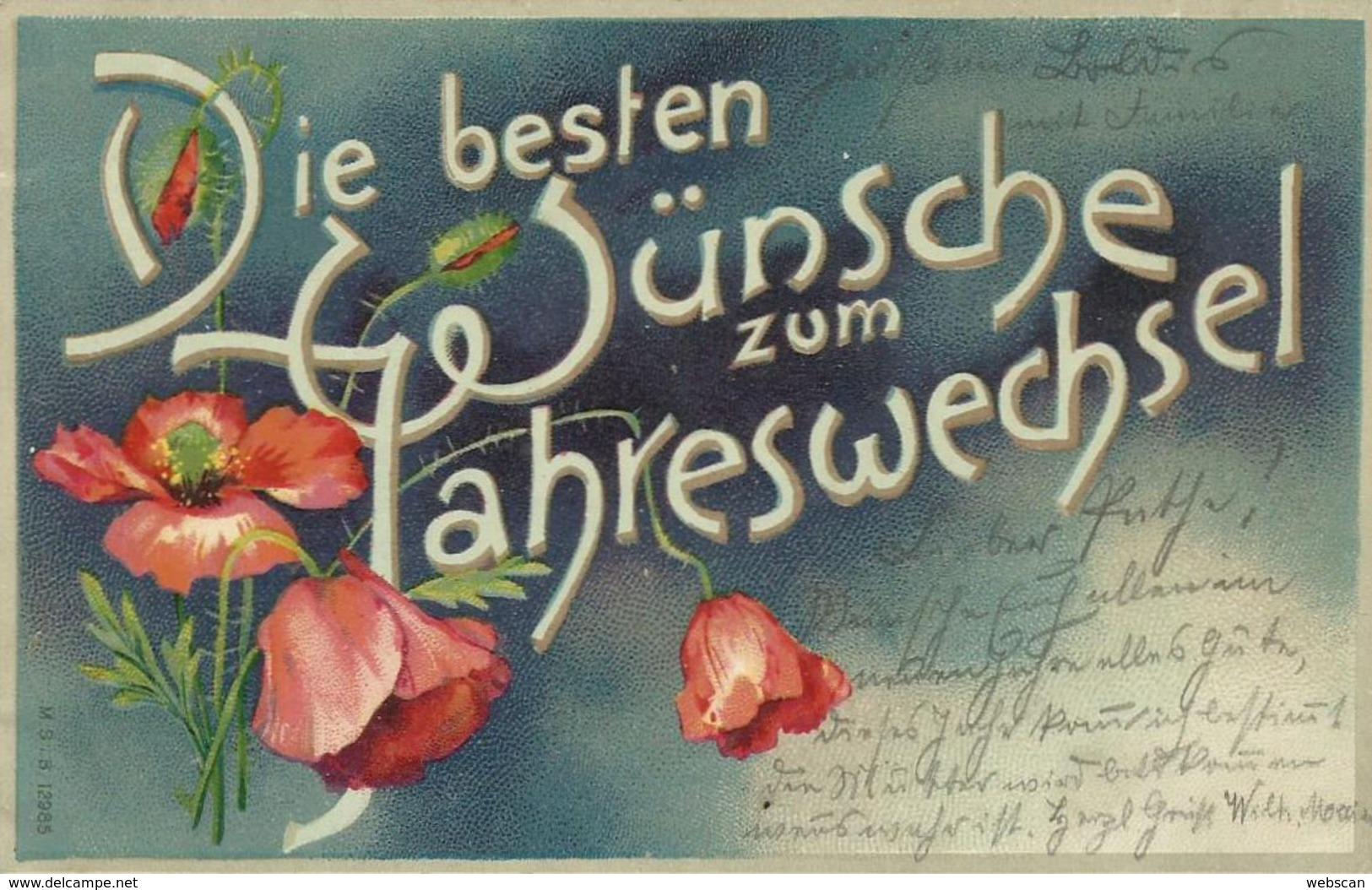 AK Neujahr New Year Blumen Dekorschrift Farblitho 1904 #03 - New Year