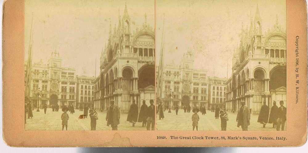PHOTO STEREOSCOPIQUE Albuminée  - Copyright 1896 By B.W KILBURN  -The Great Clock Tower-St Mark's Square -VENICE - Photos Stéréoscopiques