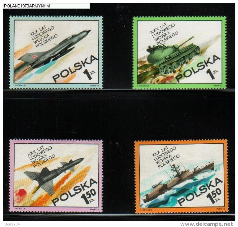 POLAND 1973 30TH ANNIV OF PEOPLE´S ARMY SET OF 4 NHM Ships Tanks Rockets Fighter Plane Flight - Schiffe