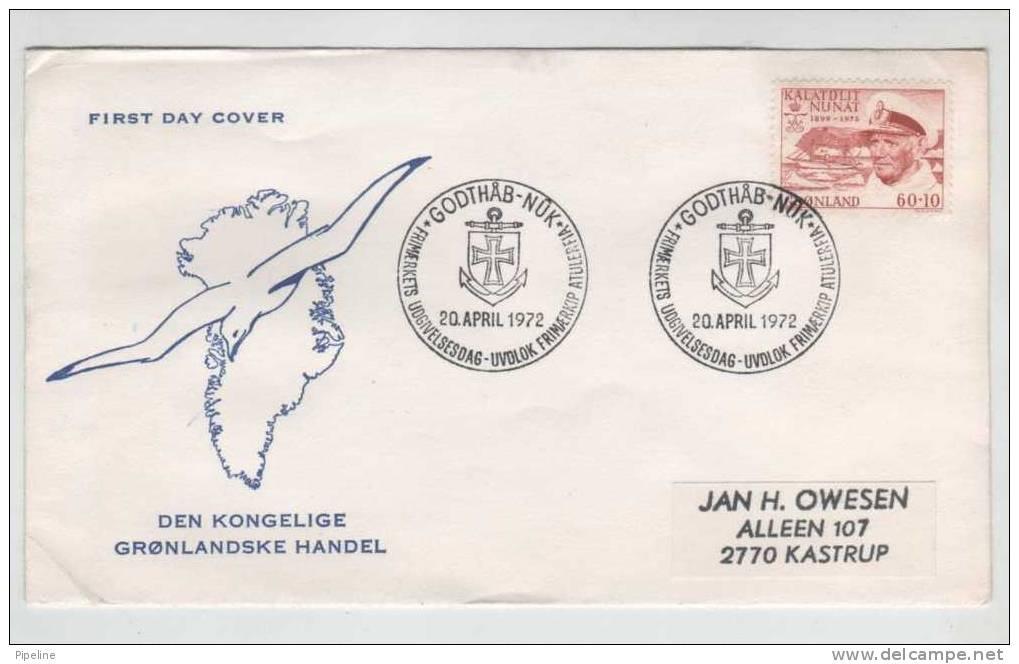 Greenland FDC 20-4-1972 King Frederik IX With Nice Cachet Sent To Denmark - Groenlandia