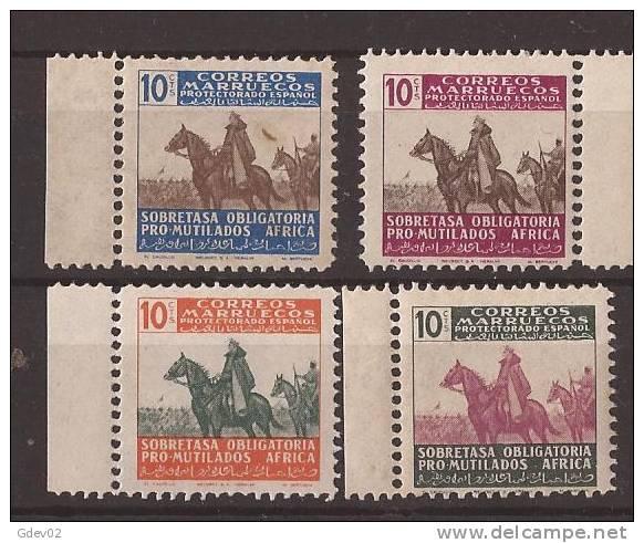 MABE32-L2630TV.Maroc.Marocco. MARRUECOS ESPAÑOL Beneficencia.Franco A Caballo. 1945 (Ed 32/5** )sin Fifasellos.LUJO - Variedades & Curiosidades