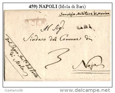 Mola 00459 - Raro Piego (con Testo) - Bollo Di Cancelleria, Del 24 Settembre 1810 - Dipendeva Da Bari. - 1. ...-1850 Prefilatelia