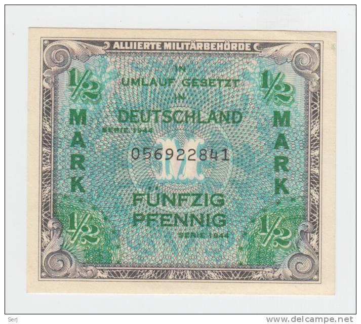 GERMANY 1/2 Mark 1944 WWII P 191a  191 A - [ 5] 1945-1949 : Occupation Des Alliés