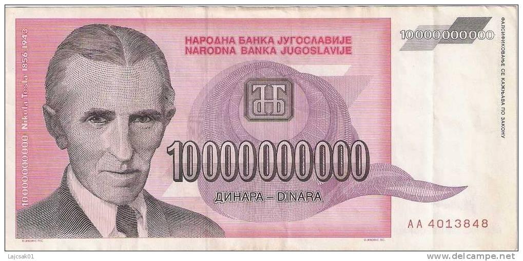Yugoslavia 10.000.000.000 Dinara 1993.VF - Yougoslavie