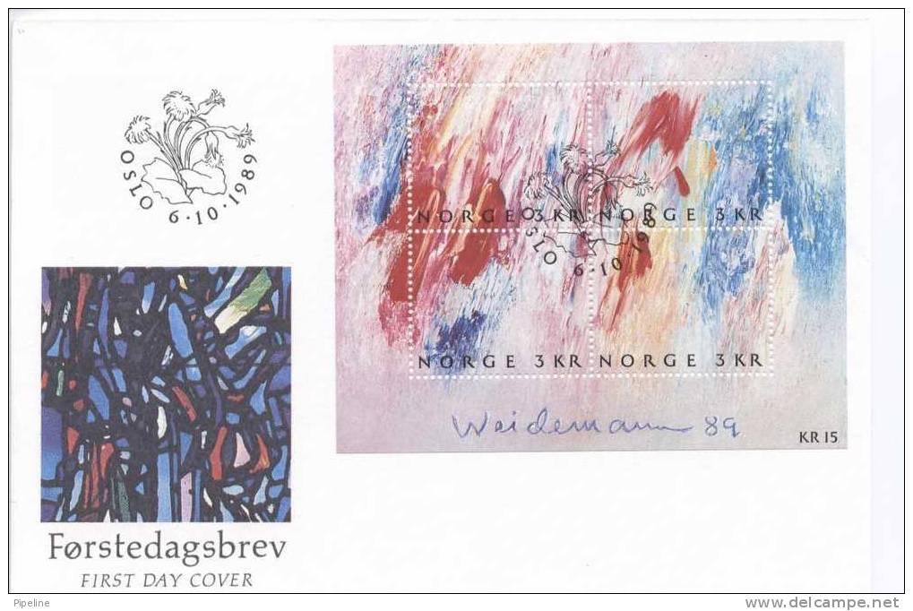 Norway FDC Mini Sheet Modern Painting Jacob Weidemann 6-10-1989 - FDC