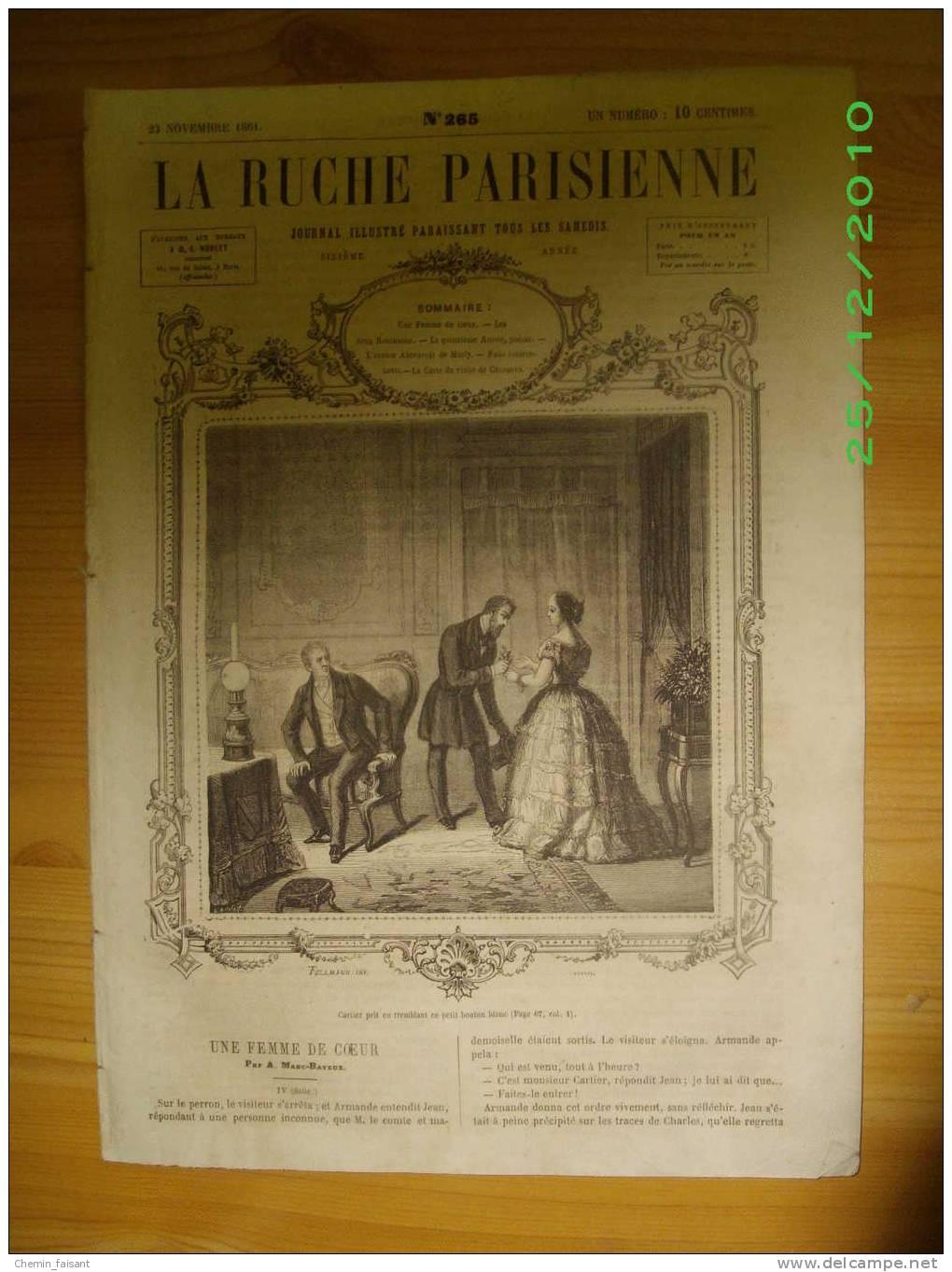 """LA RUCHE PARISIENNE N°265 Du 23/11/1861 Ancien Abreuvoir De Marly - Casanova - Poésie """"la 15e Année"""" - Journaux - Quotidiens"""