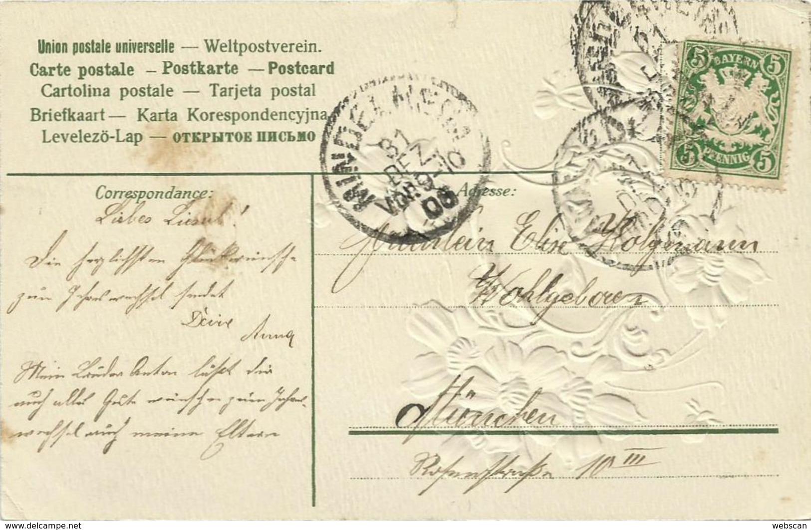 AK Neujahr New Year Blumen & Klee Im Wappen Geprägt 1908 #71 - New Year