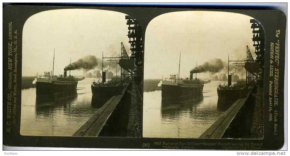 PHT2 CANADA  Harbor Fort William, Steamer Huronic - Photos Stéréoscopiques