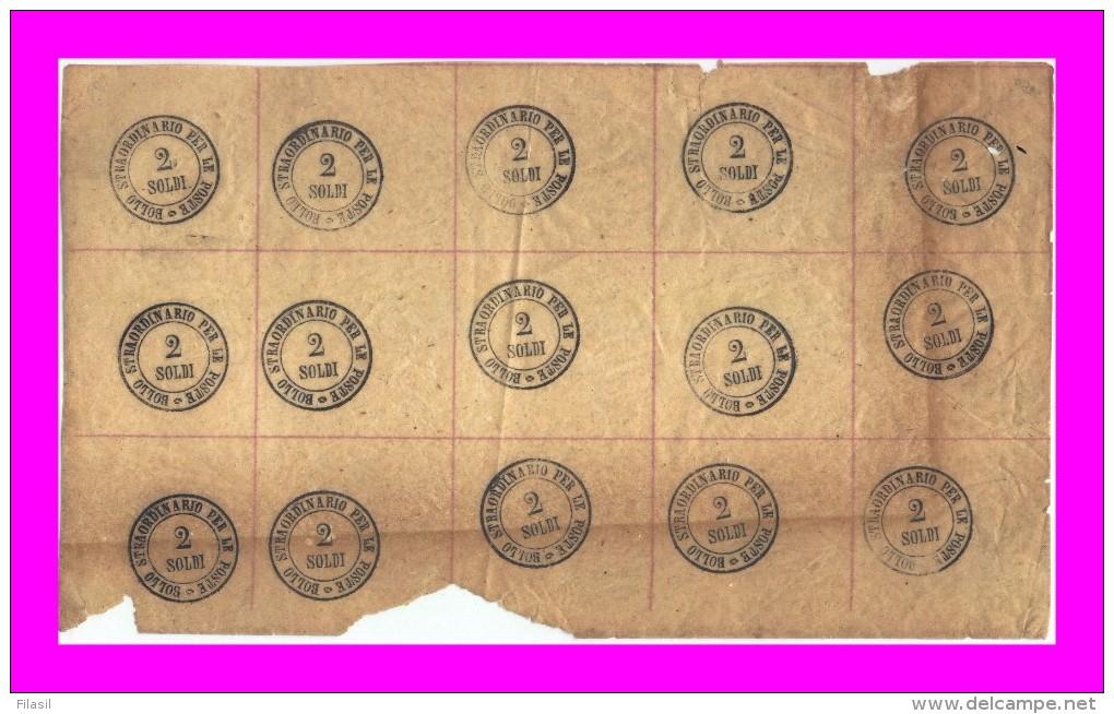 SI53D Italia Toscana 1854 2 Soldi - Bollo Straordinario Per Le Poste Blocco Di 15 Con Gomma MNH-MLH - Toscana