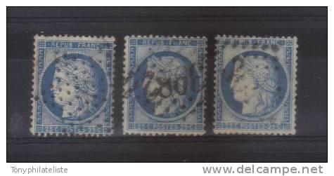 France Type Ceres N°60 25ct Bleu ( Les 3 Types)  Oblitéré Cote 49€ - 1871-1875 Cérès
