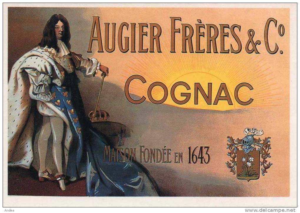 CPSM.. COGNAC AUGIER FRERES..1643..ETIQUETTE 1930...PRIX: 1,45 € - Publicité