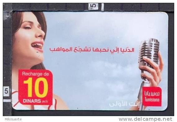 S1709 TUNISIA RECHARGE DE 10 DINARS PREPAID CARD USED - Tunisia
