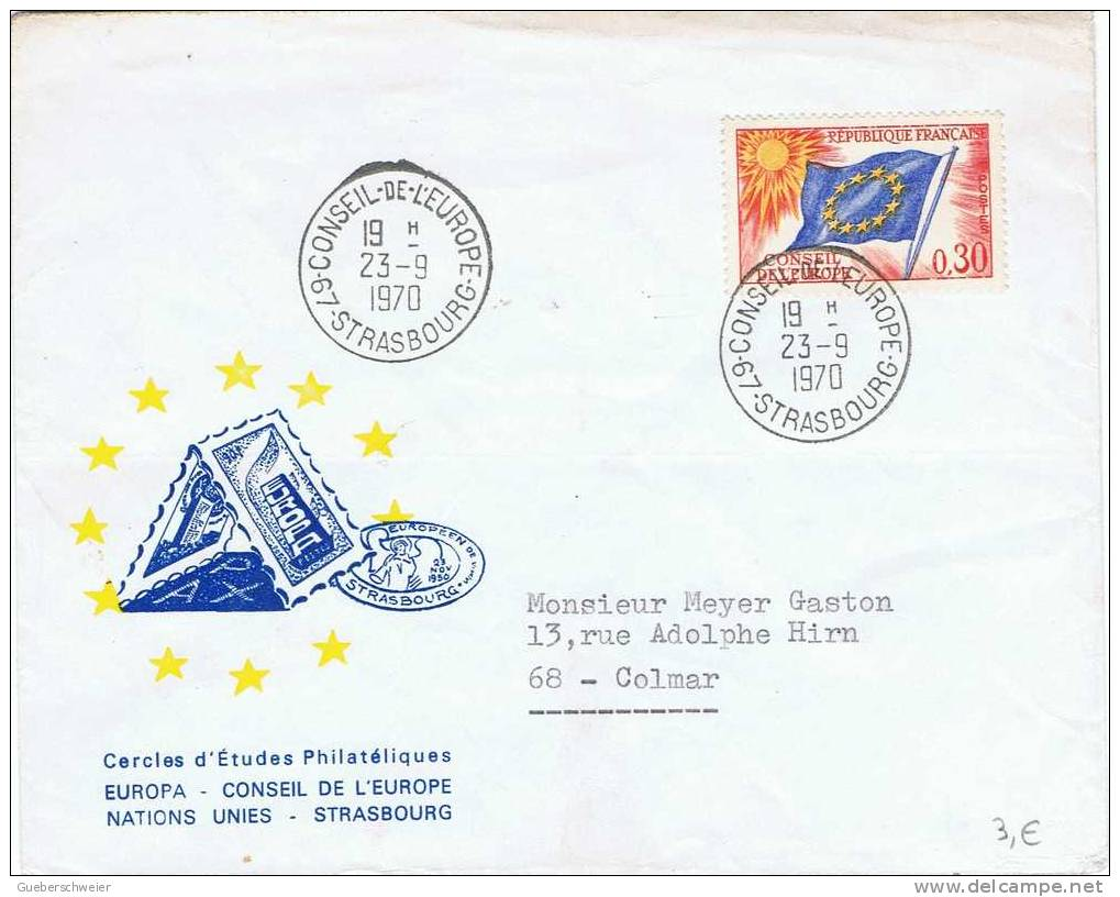 LETTRE CONSEIL DE L'EUROPE 1970 - Lettres & Documents