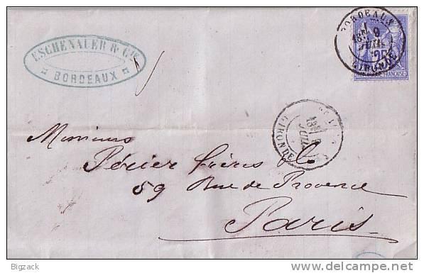 Frankreich Brief EF Minr.63 Bordeaux 9.7.77 - 1876-1898 Sage (Type II)