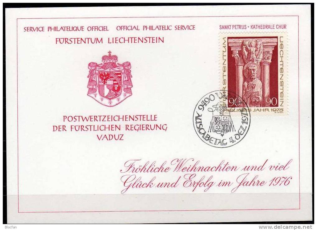 Neujahrs-Karte 1976-1980 Liechtenstein 5 Karten O 48€ Skulptur Christmas Maria Kirchen-Fenster Stickerei New Year Card - Liechtenstein