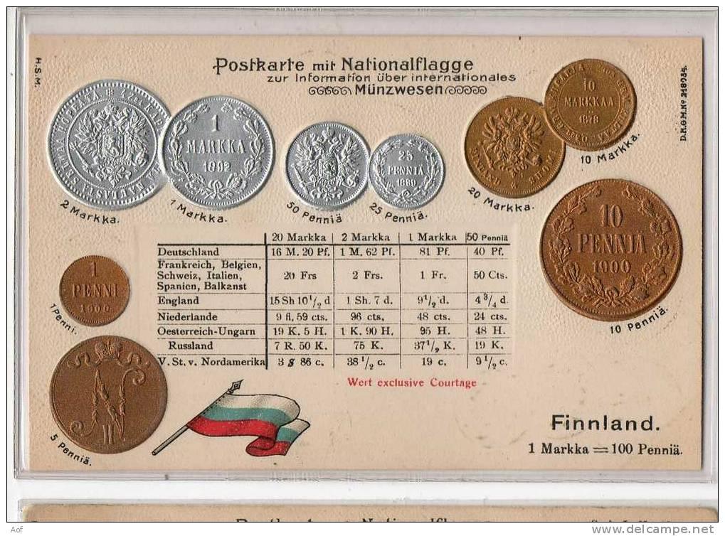 D488 Finlande Finland - Monnaies (représentations)