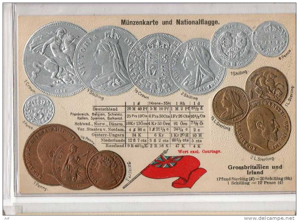 D489 Grande-Bretagne Irlande Great Britain Irland - Monnaies (représentations)