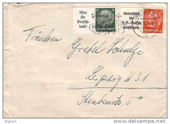 DR Brief Zdr. Mif Minr.W63, W66 Weimar 24.9.37 - Deutschland