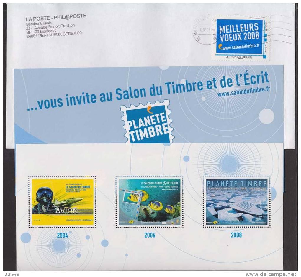 = Planète Timbre 2008, L'enveloppe Timbrée, L'invitation Et Le Bloc Gommé - Blocs & Feuillets