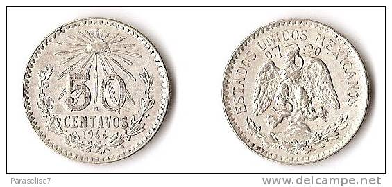 MEXIQUE 50 CENTAVOS   1944  ARGENT - Mauritanie
