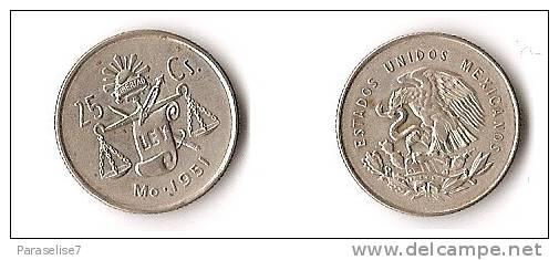 MEXIQUE 25 CENTAVOS   1951  ARGENT - Mauritanie