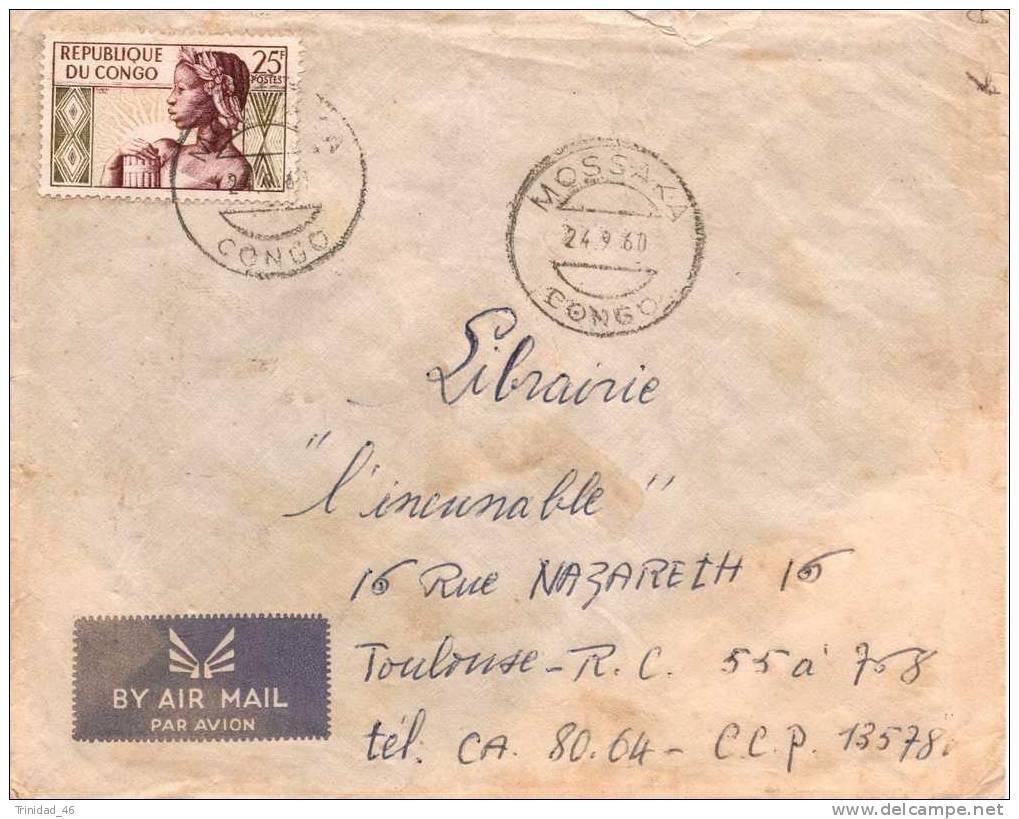 CONGO 1960  ENVELOPPE OBLITEREE PAR AVION - Congo - Brazzaville
