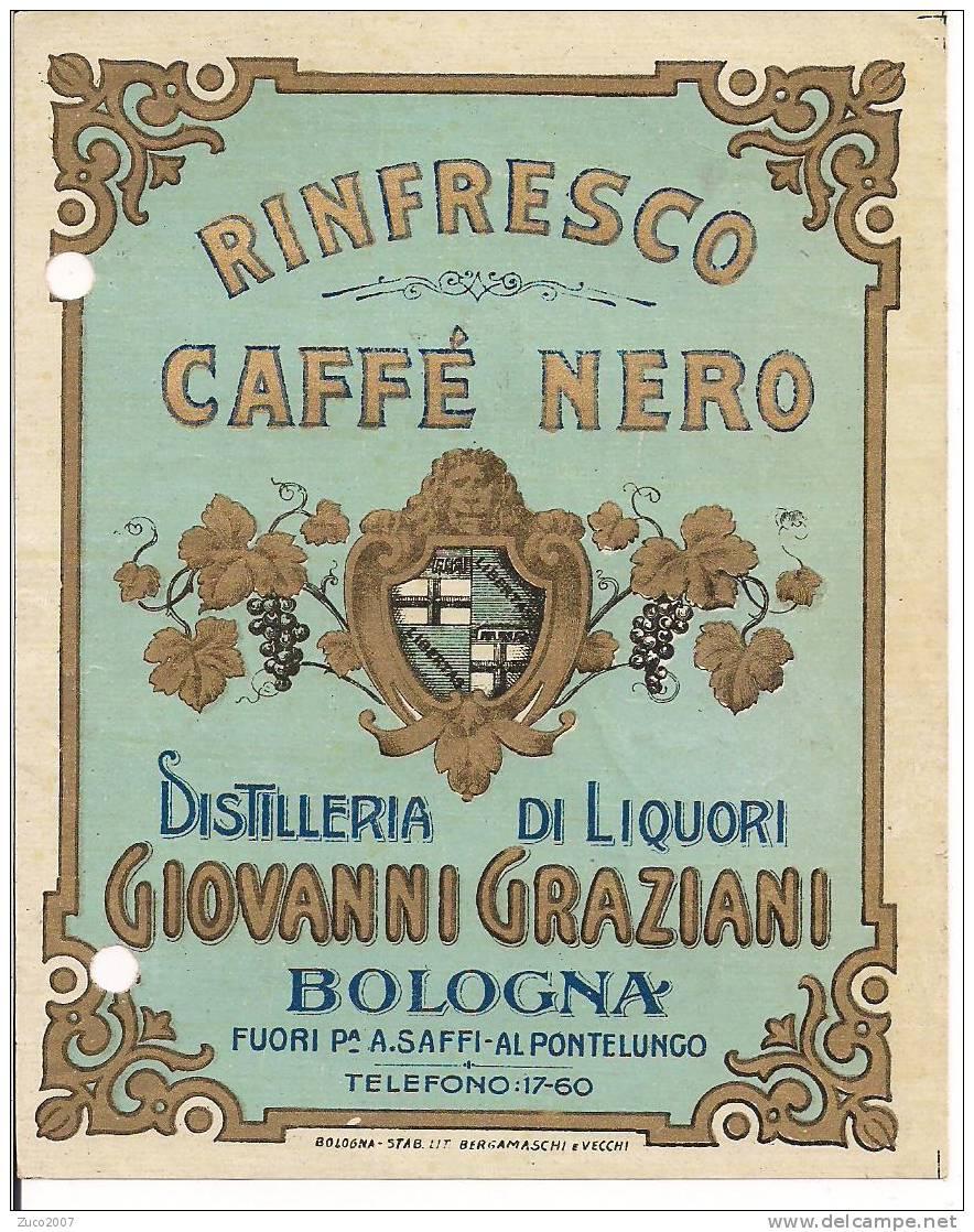 GIOVANNI  GRAZIANI - CAFFE  NERO - BOLOGNA - DISTILLERIA LIQUORI  - ETICHETTA  RINFRESCO - Etichette